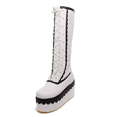 AalarDom Damen Hoch-Spitze PU Leder Niedriger Absatz Gemischte Farbe Ziehen auf Stiefel, Weiß, 37