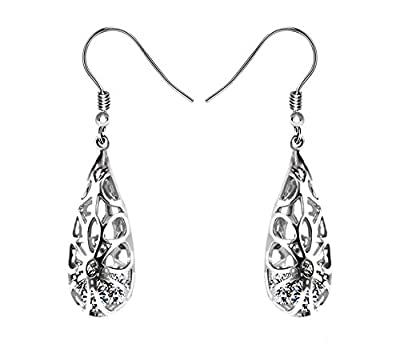 925 Sterling Silver Hoops Filigree Dangle Earrings for Women