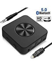 Yuanguo 【2019 Nuova Versione】 Trasmettitore e Ricevitore Bluetooth 5.0, Adattatore 2 in 1, Adattatore Audio Wireless da 3,5 mm e RAC Ottico (aptX HD a Bassa latenza) per TV, Sistema Home Stereo