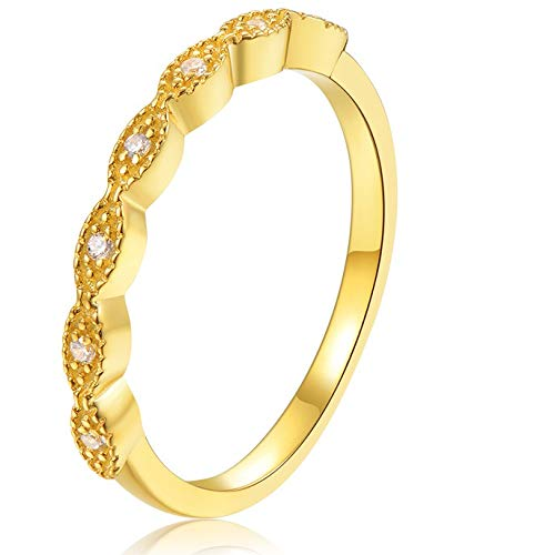 espere Milgrain Marquise Cubic Zirconia Eternity Ring Stacking Infinity Wedding Band Sterling Silver 18K Gold Size 7