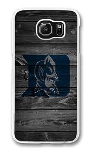 Samsung Galaxy S6 Case, Hard Crystal Clear Transparent Plastic Bumper Case for Samsung Galaxy S6 with Back Photo Wood Dark Wood Horiz 20Duke