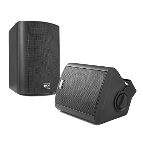 Wall Mount Home Speaker System - Active + Passive Pair Wireless Bluetooth Compatible Indoor / Outdoor Waterproof Weatherproof Stereo Sound Speaker Set with AUX IN - Pyle PDWR52BTBK (Black) ()