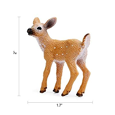 RESTCLOUD Deer Figurines Cake Toppers, Deer Toys Figure, Small Woodland Animals Set of 3: Toys & Games