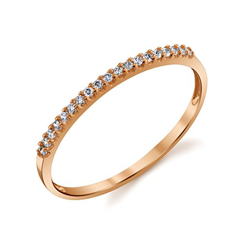10k Yellow or White or Rose Gold Lightweight Dainty CZ Wedding Stackable Band