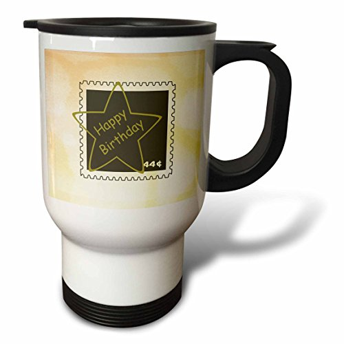 3dRose PS Creations - Happy birthday star postage stamp art - 14oz Stainless Steel Travel Mug (tm_110345_1)