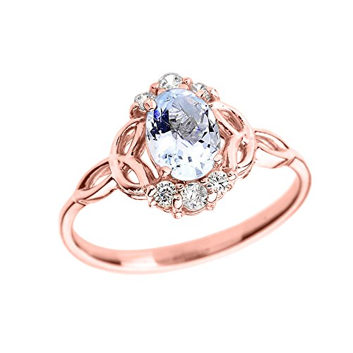 - Aquamarine and Diamond 14k Rose Gold Trinity Knot Proposal Ring(Size 8.5)