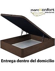 marckonfort Canapé abatible 150X190 de Gran Capacidad con Esquinas Redondeadas en Madera, Base tapizada 3D Transpirable Color Cerezo Oscuro