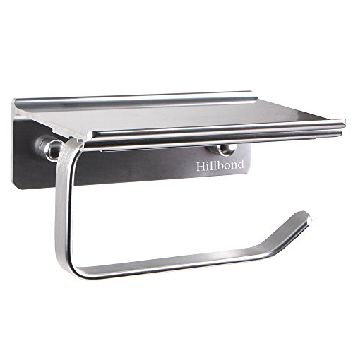 Hillbond Toilet Paper Roll Holder for Bathroom with Storage Shelf - Aluminum Wall Mount