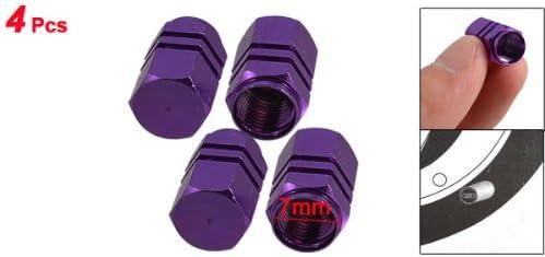 4 x Purple Hexagon Aluminum Alloy Tire Valve Caps for Car Auto