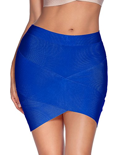 Meilun Women's Rayon Bandage Bodycon Mini Skirt (Medium, Blue)