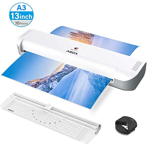 - ABOX A3 Thermal Laminator for A3/A4/A5/A7, 2019 Updated Laminating Machine with Portable Cutter&Corner Rounder&16 Pouches, Two-Roller System, High Speed, No Bubbles, Low Noise, for Home/Business