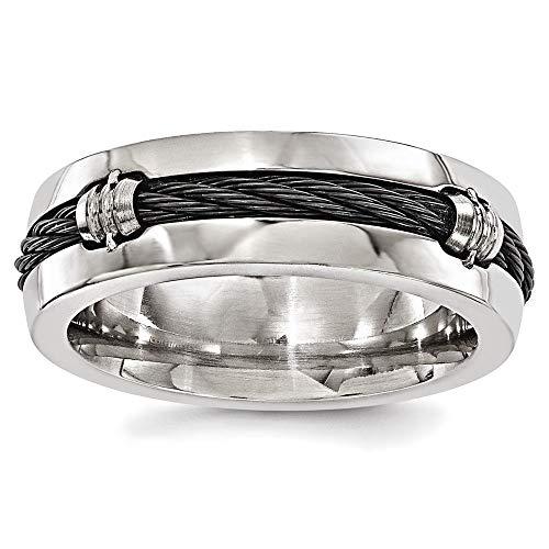 Edward Mirell Polished Titanium with Cable 7mm Wedding Band - Size 10.5