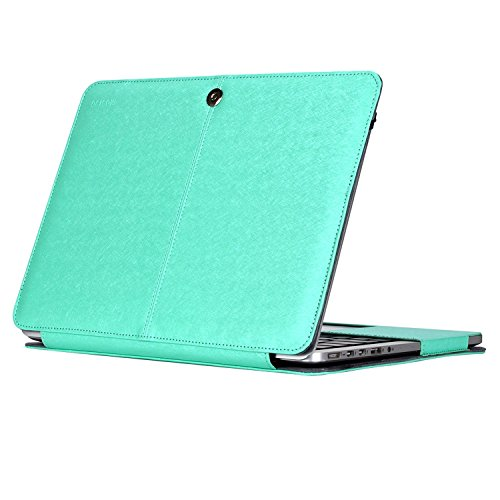 MOSISO PU Leather Case Only Compatible MacBook Pro (No USB-C) Retina 13 Inch (A1502 / A1425, 2015/2014/2013/end 2012) No CD-ROM, Premium Book Folio Protective Stand Cover Sleeve, Silky Mint Green
