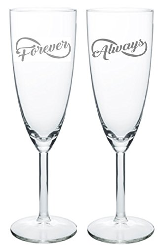 IE Laserware Champagne Wedding Flutes - Forever & Always - Set of 2