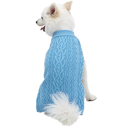 Blueberry Pet 16 Colors Classic Wool Blend Cable Knit Pullover Dog Sweater in Alaskan Blue, Back Length 12, Pack of 1 Clothes for Dogs