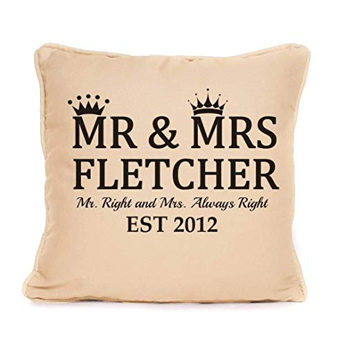 (Personalized Cushion Pillow Cover |Mr And Mrs Surname and Date | Perfect Wedding, Valentine's Day, Anniversary Gift for Him or Her - 18x18 Inch)