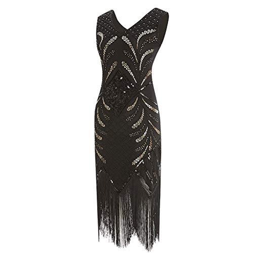 Women Vintage 1920s Flapper Dress, NDGDA Costume Dress Fringed Sequin Dress Black ()