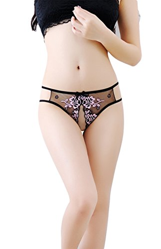 HJ-Girl Sexy Panties Thongs Open Crotch Embroidered Transparent G-String Four Colors,Pink ()