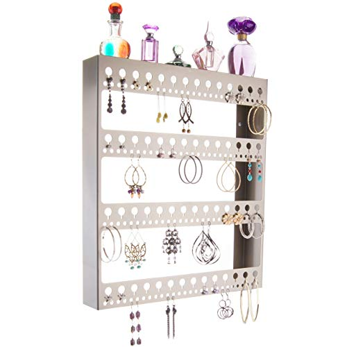 - Angelynn's Large Earring Holder Organizer Wall Hanging Closet Jewelry Storage Floating Shelf, Rose Satin Nickel Silver