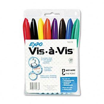 EXPO® Vis-à-Vis® Wet Erase Overhead Projection Marker MARKER,VISAVIS,FINE,8/SET (Pack of10)