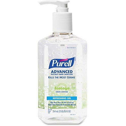 PURELL Green Certified Instant Hand Sanitizer Gel, 12 oz Pump Bottle, Clear (Purell 12 Oz Pump Bottle)