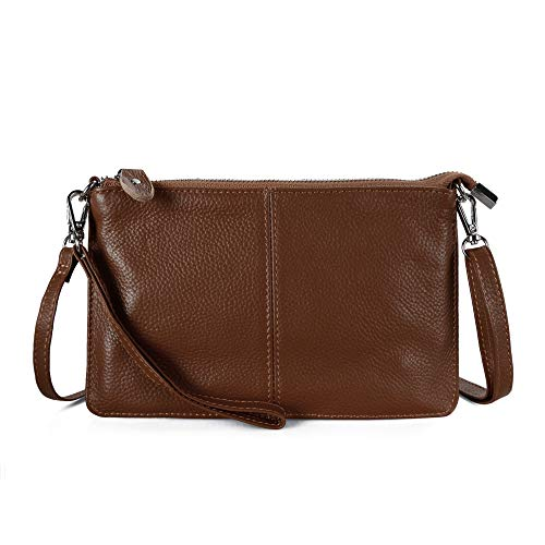 - Befen Women Leather Wristlet Wallet Shoulder Crossbody Bag Clutch Purses with 6 Card Slots/Wrist Strap/Crossbody Strap - Walnut Brown