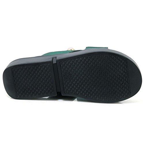 COOLCEPT Damen Slip On Mules Schuhe Green-1