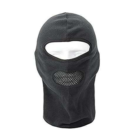 Tofern Universal Thermal Warm Fleece Mesh Mouth-Open Motocycling Hood Cycling Ski Hunting Outdoors Winter Sports Head Scarf Neck Warmer Full Face Mask Black