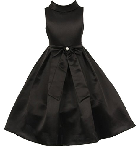 Satin Front Bodice (Big Girls' Collared Satin Dress Front Bow Flowers Girls Dresses Black 8)