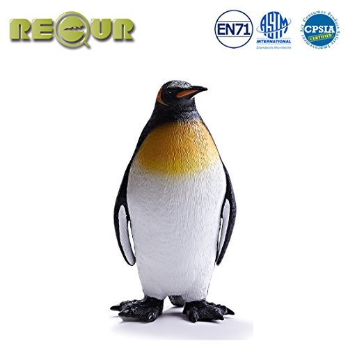 RECUR Toys King Penguin Figure Toys, Soft Hand-Painted Skin Texture Emporer Penguin Figurines Plastic Collection 12inch Diorama 1:3 Scale Realistic Design Replica, Gift for Collectors Kids , Ages 3+