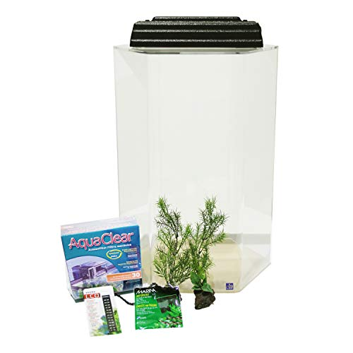 SeaClear 20 Gallon Hexagon Acrylic Aquarium Junior Executive Kit, Clear; 15