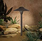 15410AZT Dome 1LT 15IN Incandescent/LED Hybrid LV Landscape Path & Spread Light, Textured Architectural Bronze Finish