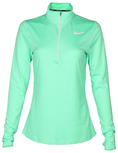 NIKE Women's Dri-Fit Element 1/2 Zip Running Shirt-Illusion Green-Small