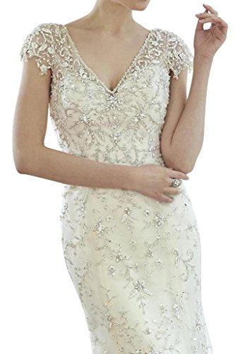 Toscana sposa lncantevole V-collo sposa vestimento lungo tempo tulle principessa un'altezza vestimento avorio 44
