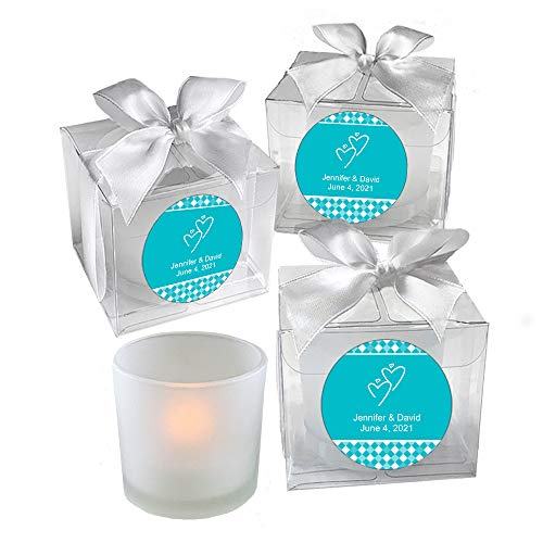 All Things Weddings, PERSONALIZED Votive Tealight Candle and Holder, Interlocking Hearts Design, Party Favors, Weddings, Bridal Party, Quinceanera, Set of 60, Turquoise