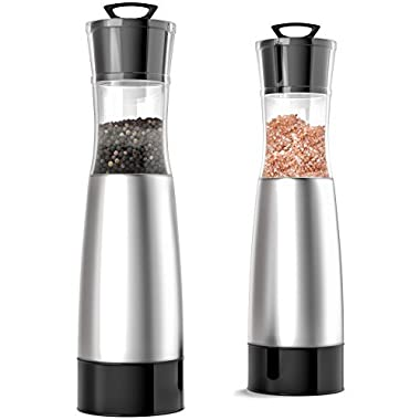 Salt and Pepper Grinders set of 2 - 9 Inches Tall Brushed Stainless Steel Salt and Pepper Shakers with Clear Acrylic Body - Manual Salt & Pepper Mill Pair with Adjustable Ceramic Grinding Mechanism