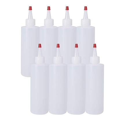 BENECREAT Botellas de plástico para dispensar apretones con Tapas Rojas, Bueno para Manualidades, Arte