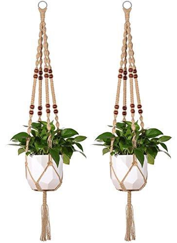 Outdoor Jute Mkono Macrame Plant Hanger Indoor Hanging Planter Basket Rope