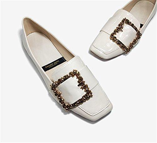 Tacones Altos de white suave Clásicas zapatos Ruanlei versátil Charol con Cerrado y Tacones Mujer de plano las Sexy bajo Altos creamy Tacones ElegantesFondo fashion elegante mujeres 4Eq5w5Y
