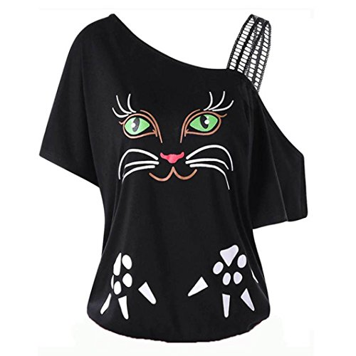 Clearance! Women Large Size Shirt, vermers Cat Printing Off Shoulder Tee Short Sleeve Tops Blouse (XL, Black) (Pintuck Big Shirt)