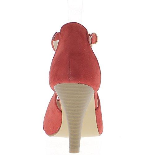 Rosso 8,5 cm aspetto camoscio tacco alto sandali sottili flange di estremità