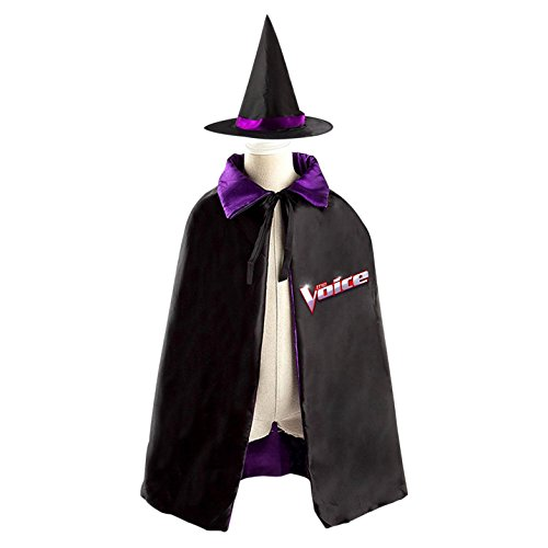 Unisex Children The Voice Halloween Magic Cosplay Costume Witch Wizard Magician Grim Reaper Cloak Cape Craze Hat Cap (Reality Show Costumes)