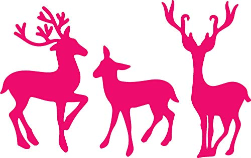 ANGDEST Reindeer Stencil Art (Pink) Waterproof Vinyl Decal