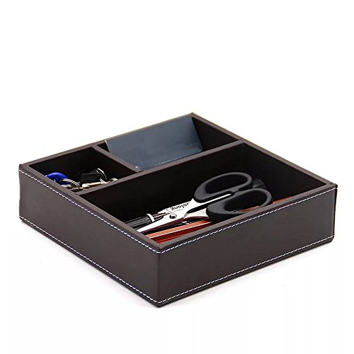 UnionBasic Flat 3-Slot Small PU Leather Drawer Tray Desk Stationery Sundries Gadget Organizer Storage Box Business Card Holder Key Container (Brown)