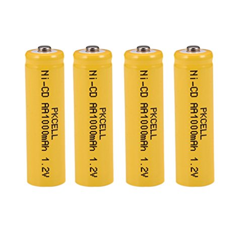 1000mAH AA Rechargeable battery Nickel-cadmium 1.2v Count (4pcs * Button top)