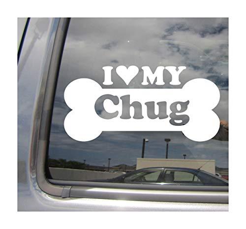 I Heart Love My Chug - Dog Bone Puppy Chihuahua Pug Designer Mixed Hybrid Breed Cars Trucks Moped Helmet Surfboard Skateboard Auto Automotive Craft Laptop Vinyl Decal Store Window Wall Sticker 14065