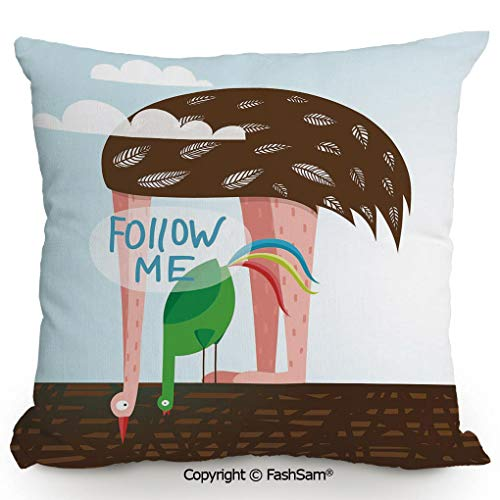 Ostrich Paw Belt - FashSam Home Super Soft Throw Pillow Ostrich and Rooster Eating on Roof Birds with Long Necks and Follow Me Label Decorative for Sofa Couch or Bed(20