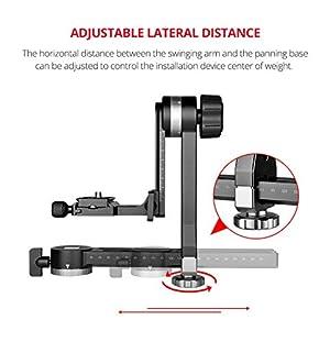Professional 360 Swivel Panoramic Gimbal Tripod Head with 100mm Movable Horizontal Axis, Arca-Swiss Standard QR Plate,Bubble Level for DSLR Camera Canon Nikon Panasonic