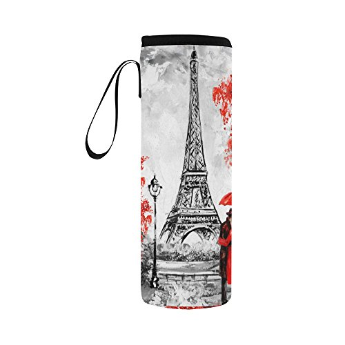 InterestPrint Eiffel Tower Lover Neoprene Water Bottle Sleeve Insulated Holder Bag 16.90oz-21.12oz, Paris Oil Painting Sport Outdoor Protable Cooler Carrier Case Pouch Cover with Handle by InterestPrint