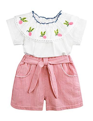 Toddler Baby Girl Outfits 2Pcs Ruffle Print T-Shirt Tops and Shorts Pants Clothes Sets 3T -